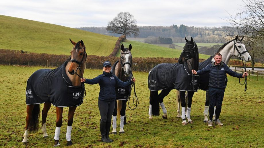Vicky Tuffs with Kogola (Bay mare) and CFH Daker Hill (Grey) and Andrew Williams with Kojak (Black gelding) and Linking Park K (Grey gelding) at GHF Equestrian yard at Great House Farm near Usk in Monmouthshire in Wales on the 10th January 2021