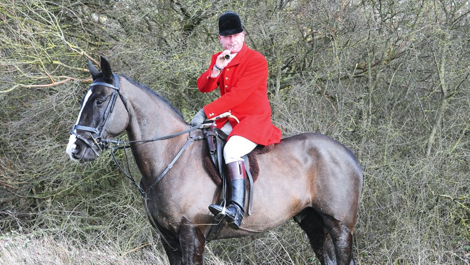Bill Bishop (Huntsman&Master) of the Oakley during the Hunts meet at Church Farm, Clifton Reynes in Buckinghamshire on 25th February 2014