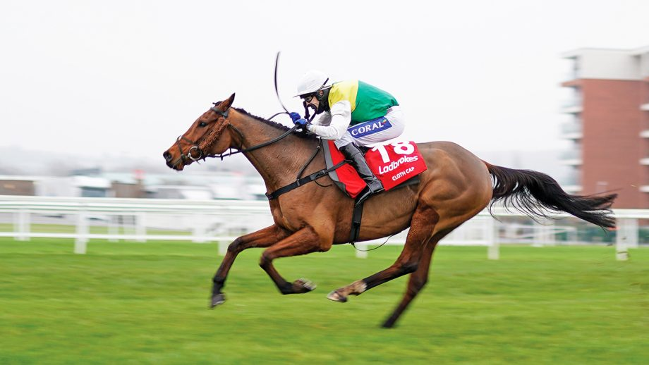 NEWBURY, ENGLAND - NOVEMBER 28: Tom Scudamore riding Cloth Cap clear the last to win The Ladbrokes Trophy Chase at Newbury Racecourse on November 28, 2020 in Newbury, England. Owners are allowed to attend if they have a runner at the meeting otherwise racing remains behind closed doors to the public due to the Coronavirus pandemic. (Photo by Alan Crowhurst/Getty Images)
