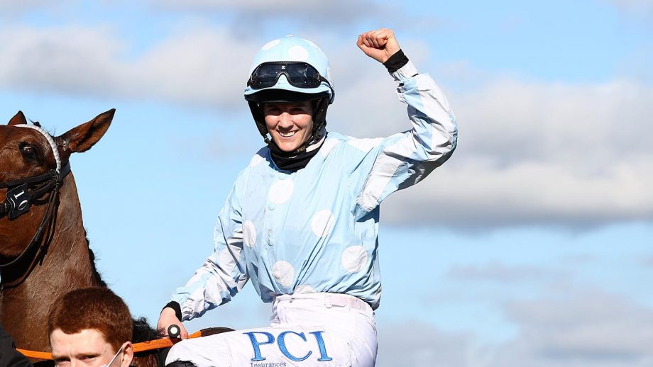 CHELTENHAM, ENGLAND - MARCH 16: Rachael Blackmore onboard Honeysuckle celebrates after victory in the Unibet Champion Hurdle Challenge Trophy (Grade 1) on Day One of the Cheltenham Festival at Cheltenham Racecourse on March 16, 2021 in Cheltenham, England. Sporting venues around the UK remain under strict restrictions due to the Coronavirus Pandemic as Government social distancing laws prohibit spectators inside venues resulting in events being held behind closed doors. (Photo by Michael Steele/Getty Images)