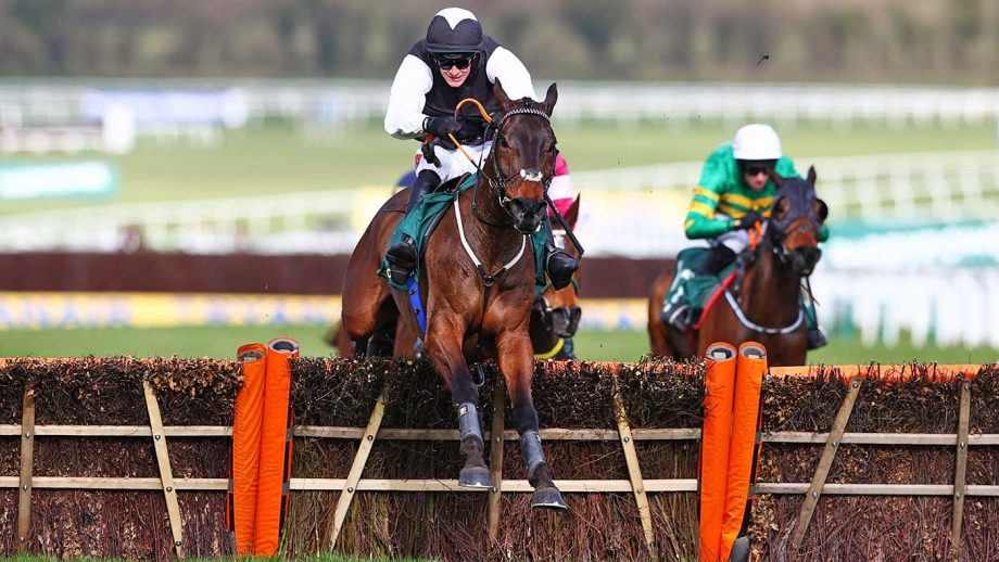 CHELTENHAM, ENGLAND - MARCH 18: Flooring Porter ridden by Danny Mullins clears the last to win the Paddy Power Stayers' Hurdle (Grade 1) during Day Three of the Cheltenham Festival 2021 at Cheltenham Racecourse on March 18, 2021 in Cheltenham, England. Sporting venues around the UK remain under strict restrictions due to the Coronavirus Pandemic as Government social distancing laws prohibit spectators inside venues resulting in events being held behind closed doors. (Photo by Michael Steele/Getty Images)
