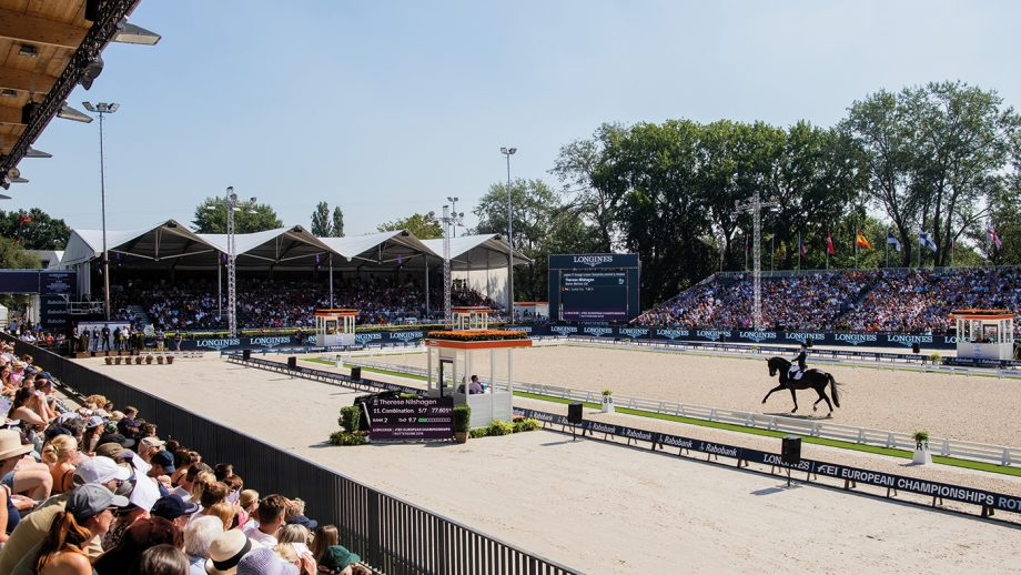 24 August 2019, Netherlands, Rotterdam: European championship, equestrian sport, dressage, Grand Prix Freestyle (freestyle): The rider Therese Nilshagen from Sweden on the horse Dante Weltino rides in the parcours. Photo: Rolf Vennenbernd/dpa