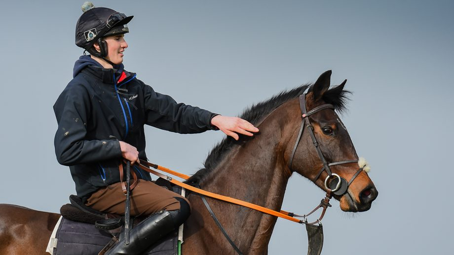 Jack Andrews riding Chongalolo during morning exercise at G&T Racing near Marton in Warwickshire in the UK on 20th February 2021