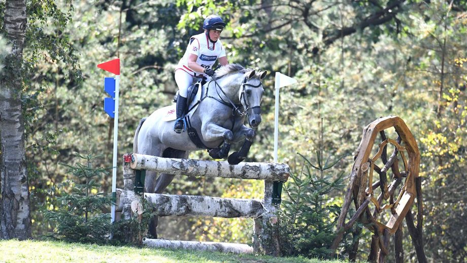 Kitty King and Vendredi Biats on the cross-country at the 2019 European Eventing Championships