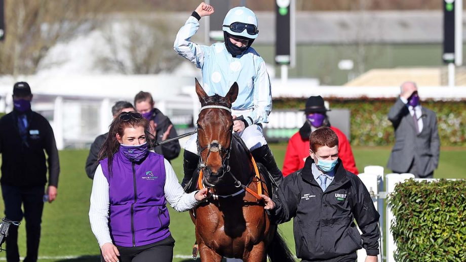 Jockey Rachael Blackmore celebrates after winning the Unibet Champion Hurdle Challenge Trophy with Honeysuckle during day one of the Cheltenham Festival at Cheltenham Racecourse. Picture date: Tuesday March 16, 2021.