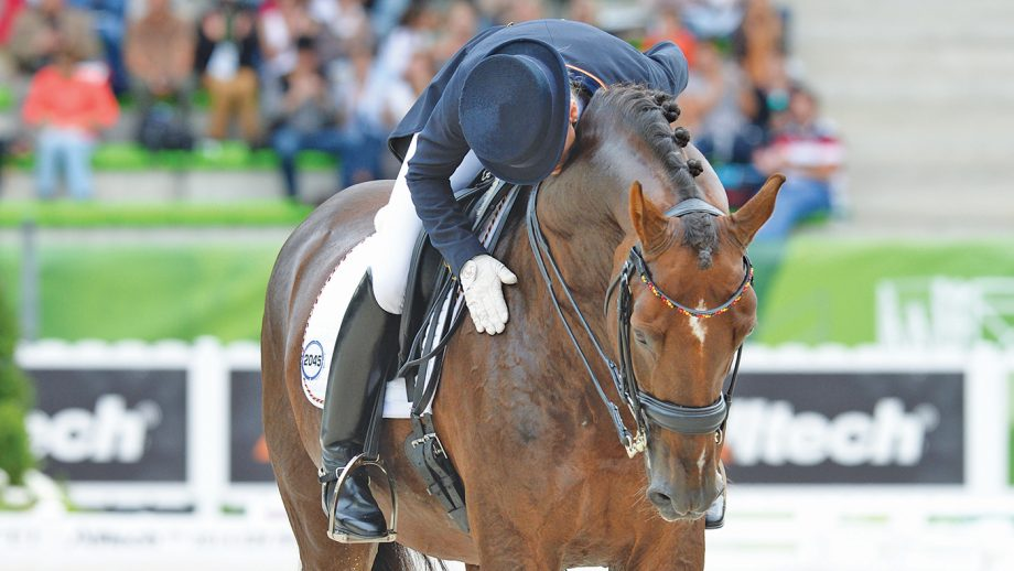 Helen LANGEHANENBERG (GER) riding DAMON HILL NRW during the Grand Prix Special Competition in the D'Ornano Stadium in Caen, Normandy in France between 23 August to 7 September 2014