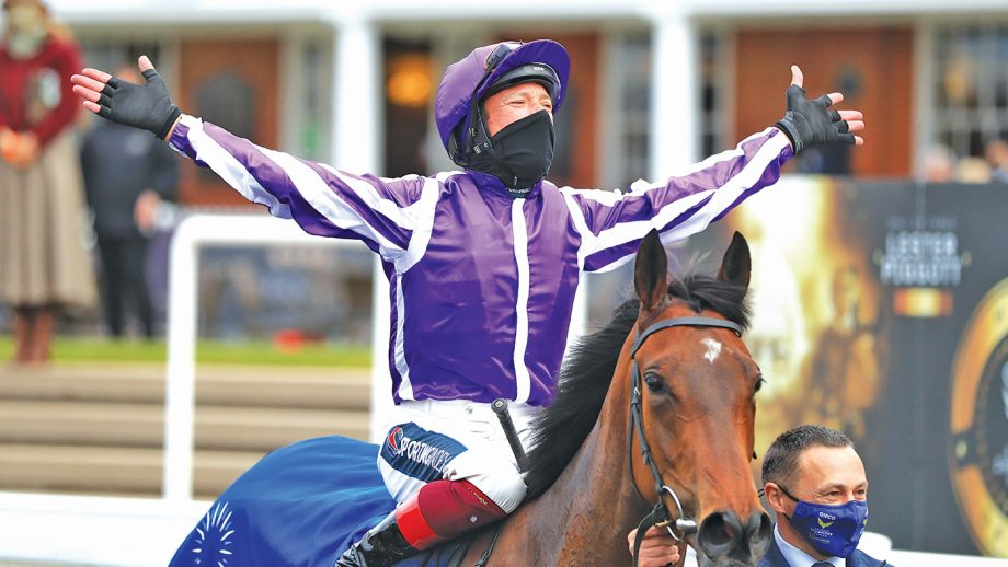 Frankie Dettori celebrates in the winners enclosure after winning the Qipco 1000 Guineas Stakes on Mother Earth during 1000 Guineas Day, part of the QIPCO Guineas Festival at Newmarket Racecourse. Picture date: Sunday May 2, 2021.