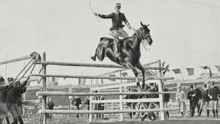 Captain Federico Caprilli (1868-1907), horseriding Melopo, winning the high jump world record at the International Horse Show in Turin, Italy, photo by Giacomo Barbaroux, from L'illustrazione Italiana, Year XXIX, No 25, June 22, 1902.