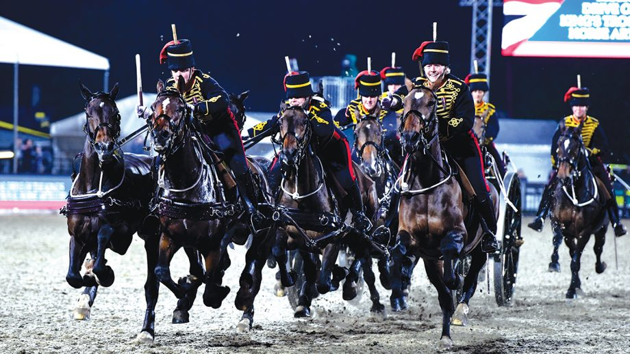 The Musical Drive of The King's Troop Royal Artillery during the Royal Windsor Horse Show in the private grounds of Windsor Castle, in Windsor in the county of Berkshire, UK on 12th May 2018
