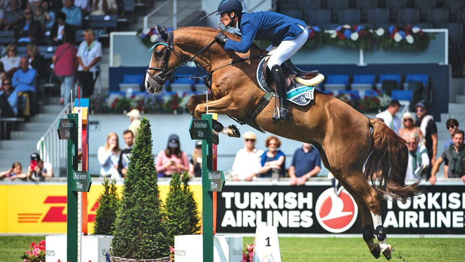 July 17, 2019 - Aachen, Germany - DANIEL DEUSSER of Germany jumps an oxer on Scuderia 1918 Tobago Z to finish third in Prize of Europe during the World Equestrian Festival CHIO Aachen in Germany. (Credit Image: √?¬?√?¬© Martin Dokoupil/ZUMA Wire)