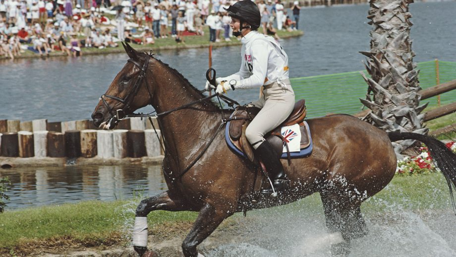 British equestrian Virginia Leng (Virginia Holgate) pictured in action for the Great Britain team on her horse 'Priceless' at the water hazard during competition to finish in 3rd place to win the bronze medal in the Mixed Three-Day event, Individual equestrian event at the 1984 Summer Olympics at Fairbanks Ranch near Los Angeles in California, United States on 1st August 1984. (Photo by Professional Sport/Popperfoto via Getty Images/Getty Images)