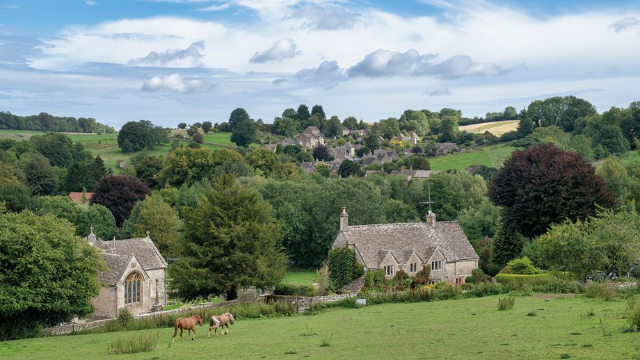 PN10KE Looking across to the cotswold village of North Cerney, Gloucestershire, England