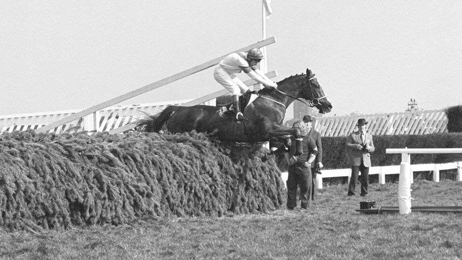 Aldaniti with Bob Champion in the saddle jumps the last fence to go on to win the Grand National Handicap Steeplechase at Aintree, Liverpool.