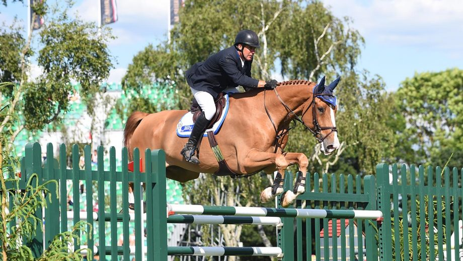 William Funnell, pictured riding Billy Diamo, is out of contention for the Tokyo Olympics after suffering a broken ankle.