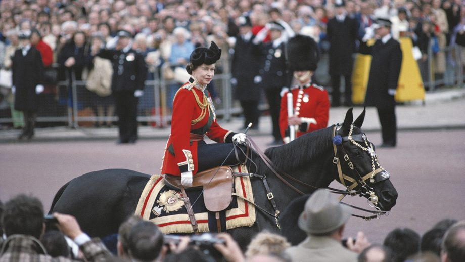 Queen Elizabeth II riding a horse, in ceremonial dress, during the Trooping the Colour ceremony on Horse Guards Parade, London, England, Great Britain, June 1979. The Queen is riding 'Burmese', a gift from the Canadian Royal Mounted Police. (Photo by Tim Graham Photo Library via Getty Images)