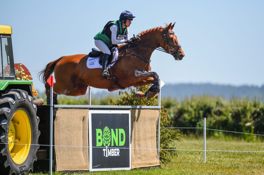 Holly Needham riding HENDRIX in CCI-S 4* Section C1 during the cross country phase of the Chedington Bicton International Horse Trials held at Bicton Arena near East Budleigh in Devon in the UK on the 13 June 2021