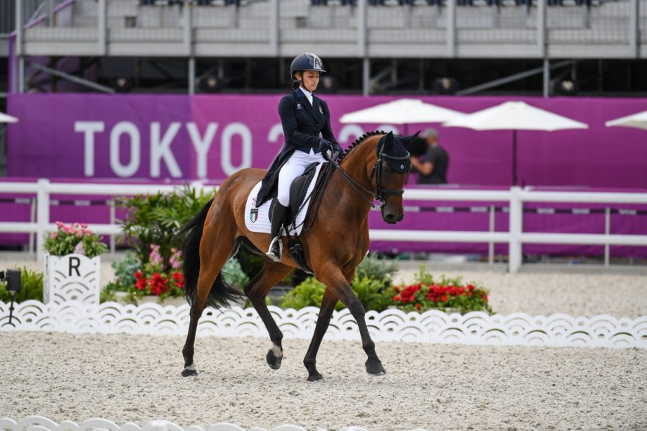 Arianna Schivo and Quefira De L'Ormeau at the Tokyo Olympic eventing competition, dressage phase