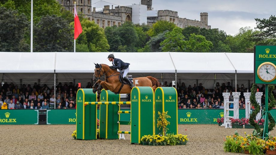 Ben Maher riding Explosion W to win the CSI5* Rolex Grand Prix during the Royal Windsor Horse Show 2021.