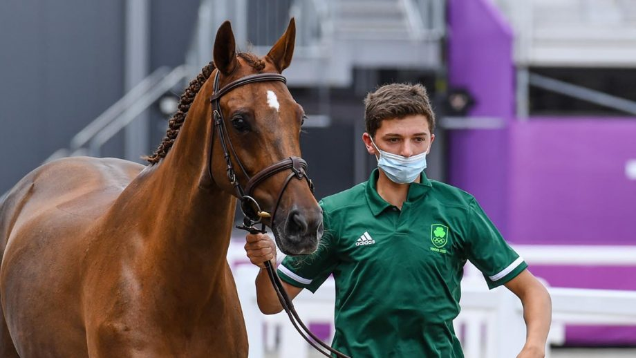 The Irish Olympic eventing team will be without Cathal Daniels and Rioghan Rua, seen here during the first horse inspection at the Tokyo 2020 Olympic Games
