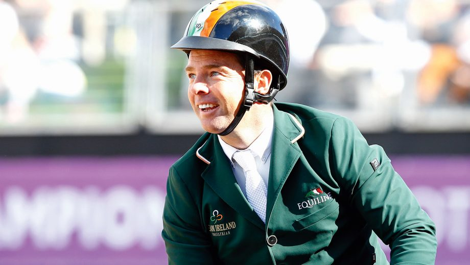 Cian O'Connor (IRL) riding Good Luck celebrates after winning bronze medal during Jumping Individual Final of the Equestrian European Championships on August 27, 2017 in Gothenburg, Sweden. (Photo by Pierre Costabadie/Icon Sport)