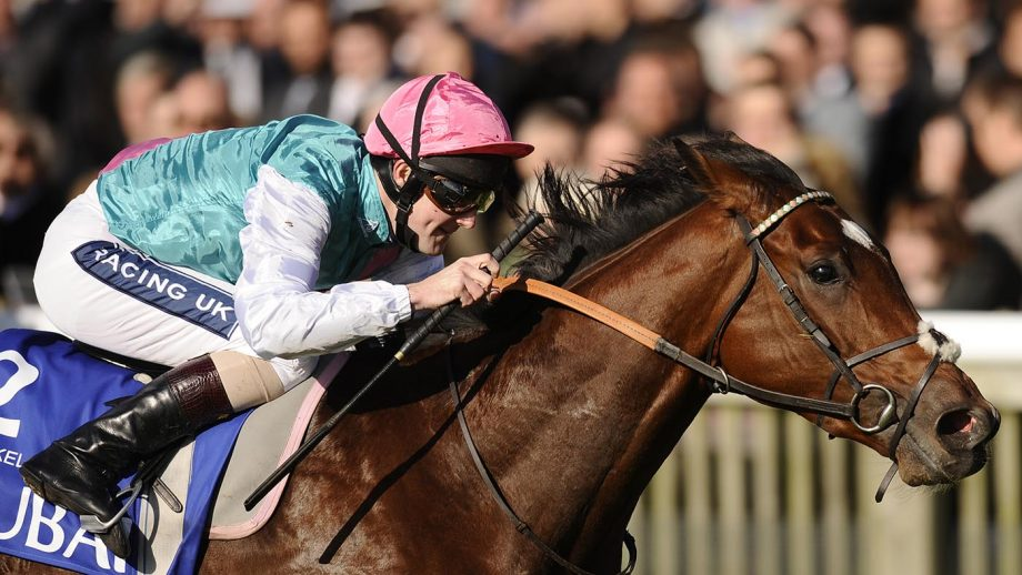 Tom Queally riding Frankel wins The Dubai Dewhurst Stakes at Newmarket 2010