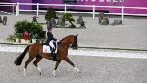 Brittany Fraser-Beaulieu and All In received a late call for the Olympic dressage individual final