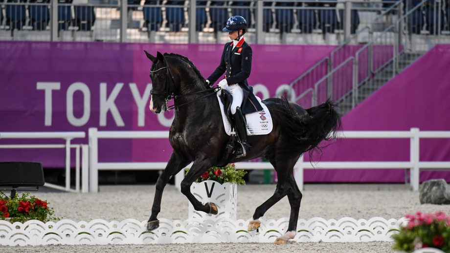Britain's Lottie Fry rides Everdale in the grand prix at the Tokyo Olympic dressage