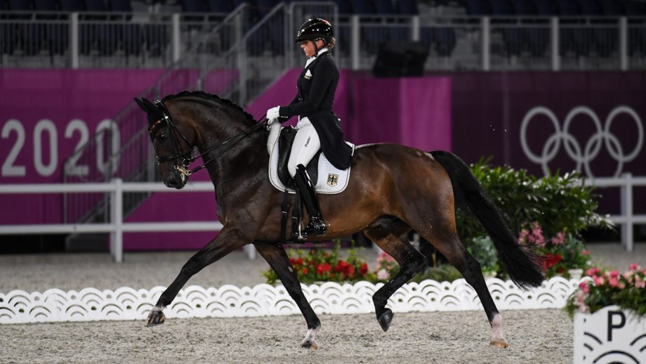 Dorothee Schneider rides Showtime FRH at the Tokyo Olympic dressage grand prix (25 July)