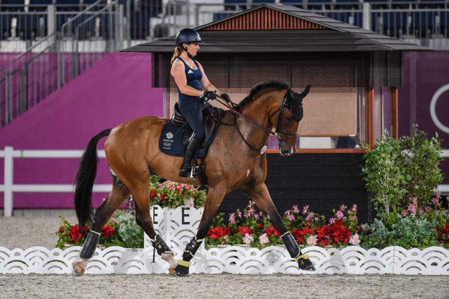 Olympic event horses in Tokyo: Laura Collett and London 52 during arena familiarisation