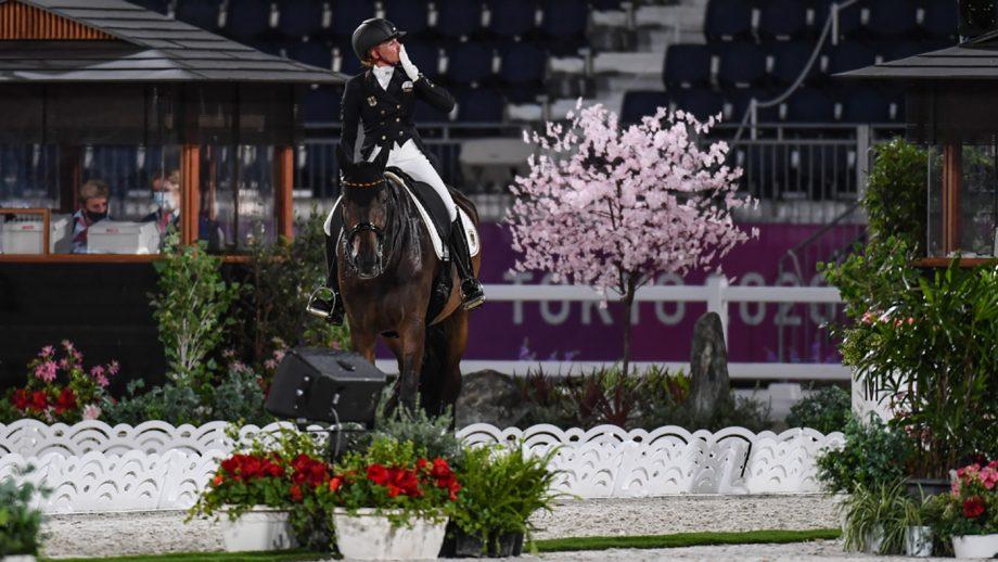 Jessica von Bredow-Werndl riding TSF Dalera in the Tokyo Olympics dressage grand prix