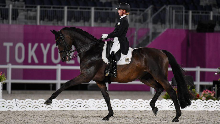 Jessica von Bredow Werndl riding TSF Dalera in the Tokyo Olympics grand prix dressage