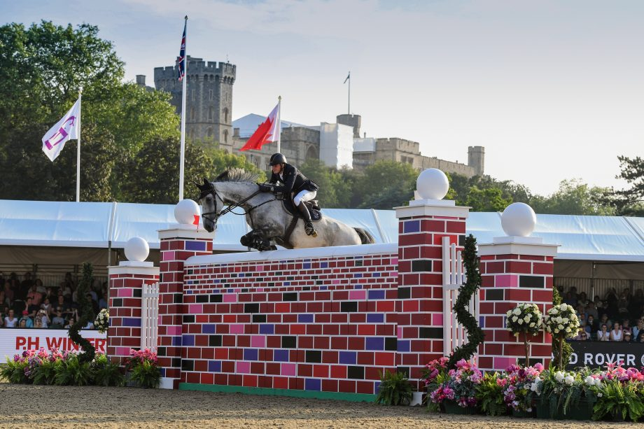 Joe Stockdale and Florida VDL, who shared top honours with Guy Williams riding Mr Blue Sky UK in the puissance at Royal Windsor Horse Show 2021