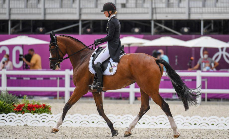 Olympic eventing dressage Julia Krajewski riding Amande De B'Neville
