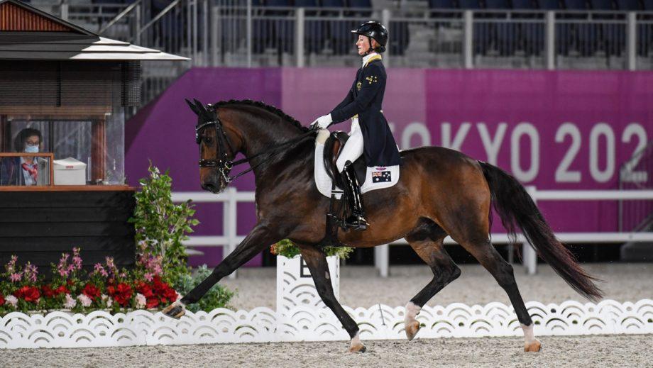 Australian dressage rider Kelly Layne and Samhitas in the Tokyo Olympic grand prix dressage test