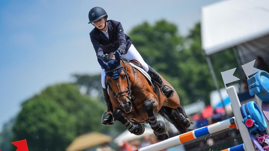 Lillie Keenan riding Agana van het Greendale Z, winners of the Manama Speed Stakes during the Royal Windsor Horse Show, held in the grounds of Windsor Castle in Windsor in Berkshire in the UK between 1st - 4th July 2021