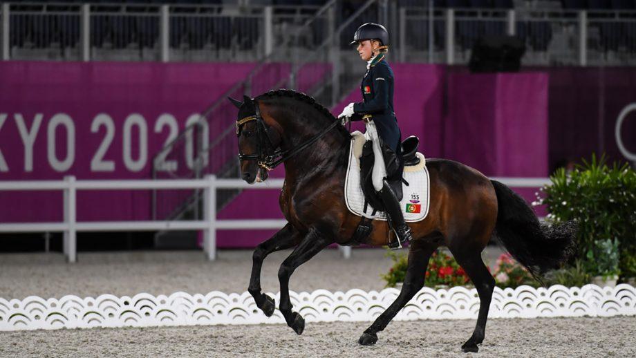 Maria Caetano riding Fenix De Tineo in the Tokyo olympics dressage grand prix