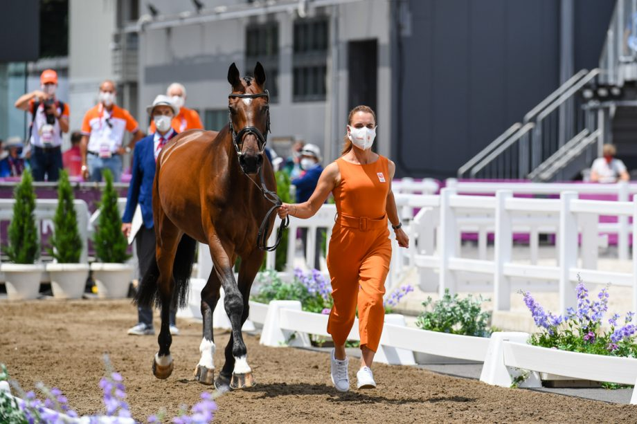 Olympic eventing first trot-up pictures: Merel Blom and The Quizmaster