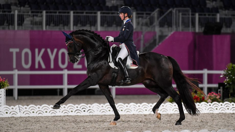 US dressage rider Sabine Schut-Kery and Sanceo compete in the Tokyo Olympics dressage grand prix