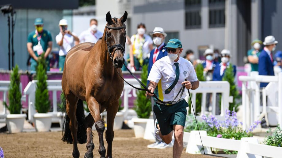 Australia's Stuart Tinney with Leporis during the first horse inspection at the Tokyo 2020 Olympic Games