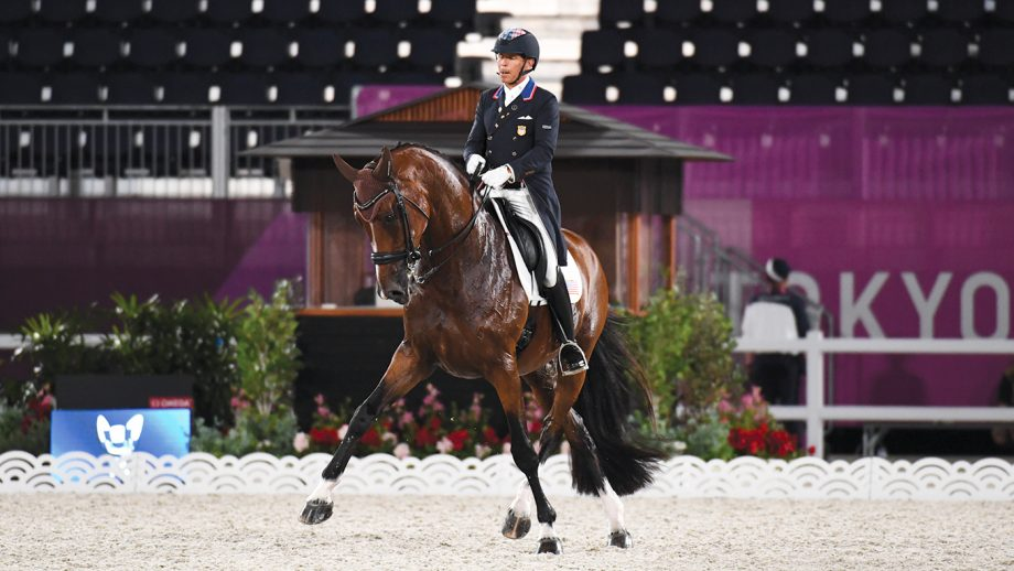 olympic dressage freestyle: Steffen Peters and Suppenkasper at the Tokyo Olympics