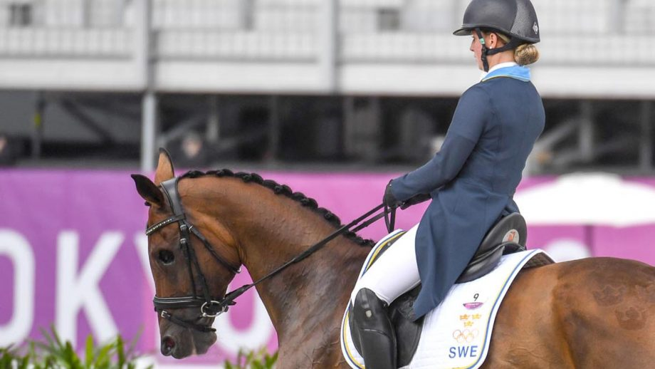 Sweden's Therese Viklund riding one-eyed event horse Viscera at the Tokyo Olympic Games eventing.