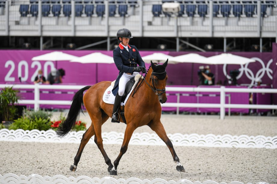 Tom McEwen and Toledo De Kerser in the dressage phase of the Tokyo Olympic eventing competition