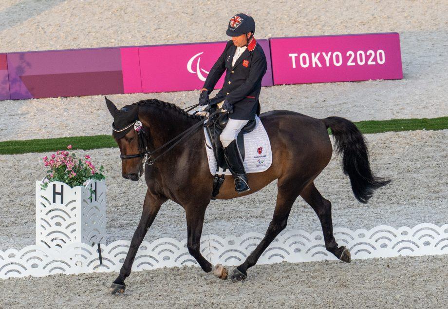 British Grade II rider Lee Pearson rides Breezer at the Tokyo Paralympics