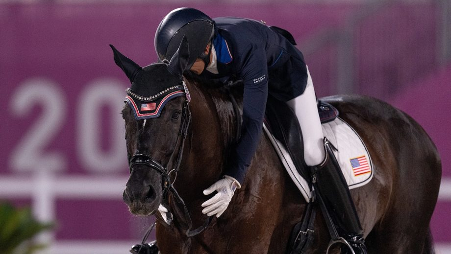 The USA's Solitaer 40 and Kate Shoemaker in the Paralympics Dressage in Tokyo