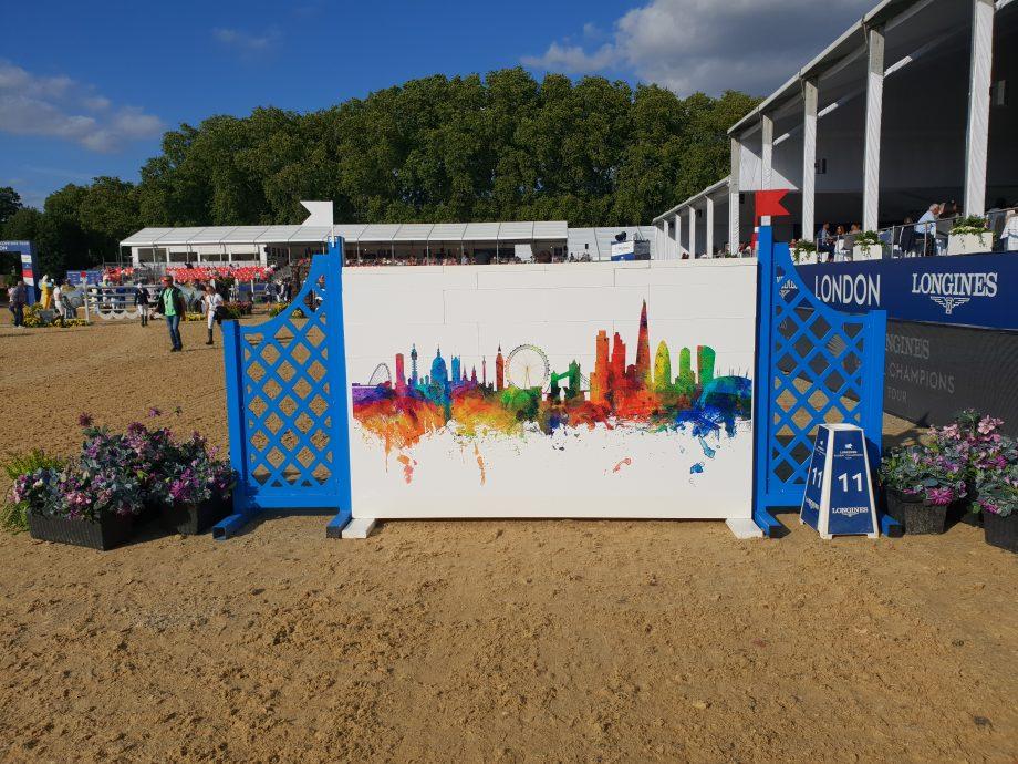 The London skyline fence on the London GCT grand prix track