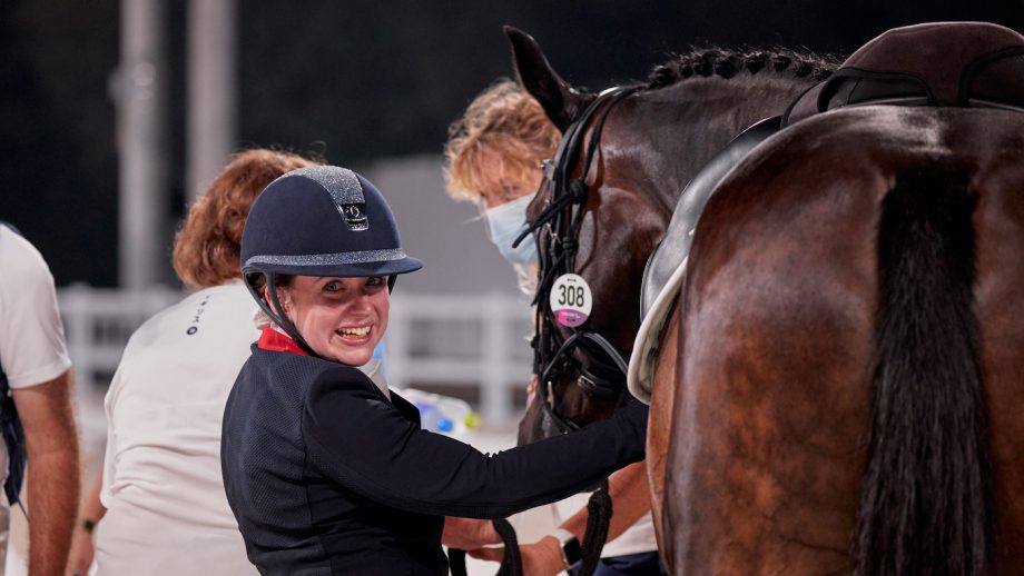 Natasha Baker looks delighted after her grade III individual test in the Paralympic dressage in Tokyo
