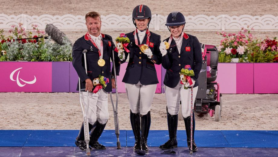 Tokyo Paralympic dressage: the gold medal-winning British team on the podium