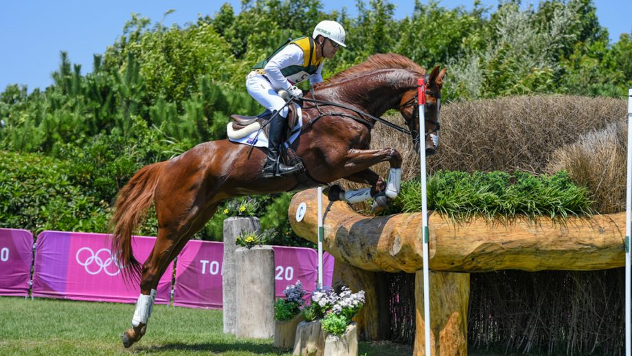 Andrew Hoy and Vassily De Lassos on their way to a clear roundin the Olympic eventing cross-country in Tokyo