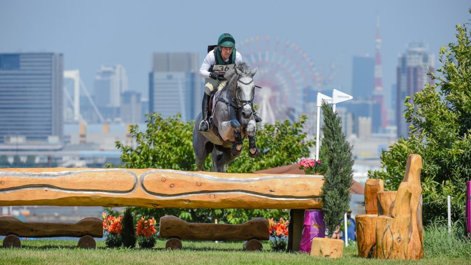 Austen O'Connor riding Colorado Blue for Ireland jumps clear inside the time around the Olympic eventing cross-country at the Tokyo Games