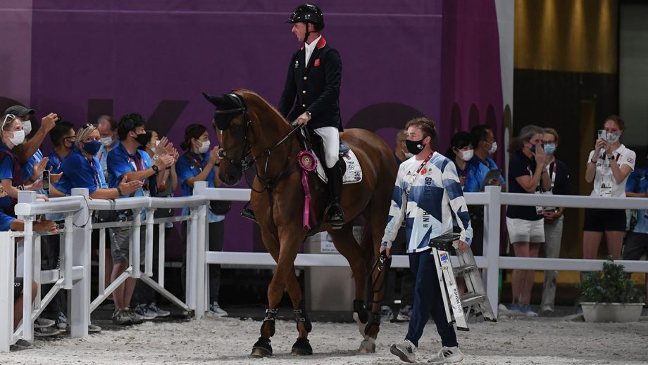 Groom Cormac Kenny with Ben Maher at the Tokyo Olympics